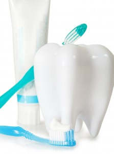 Tooth Brushes With Mint, Tooth Paste And Dental Floss Isolated O